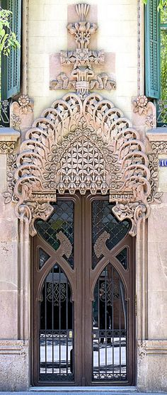 Arched portal, doors, barcelona spain