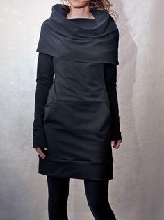 Black Cowl Neck Pocket Tunic. $154.00, via Etsy.