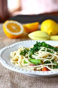 light meals, asparagus recipes, pasta dishes, food, summer meals, pasta lemon asparagus, meyer lemon, lemon spaghetti, dinner tonight