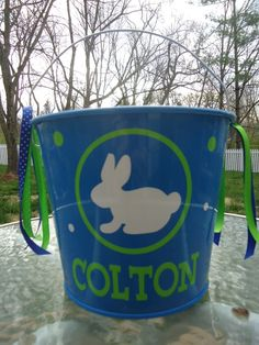 5 Quart Personalized Easter bucket basket pail - bunny