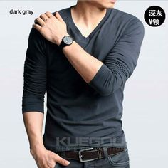 T-shirts Tee Tops   http://www.aliexpress.com/store/802966/211328847-531462872/Men-s-T-shirts-Slim-Fit-Solid-Color-Stylish-V-Neck-Long-Sleeve-T-shirts-Tee.html  $25