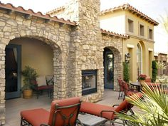 Patio with Two Way Fireplace