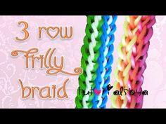 Rainbow Loom FRILLY BRAID Bracelet - 3 Row. Designed and loomed by TutorialsbyA. Click photo for YouTube tutorial. 03/28/14