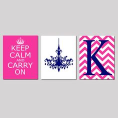 Keep Calm and Carry On Chevron Monogram Chandelier Trio by Tessyla, $55.00