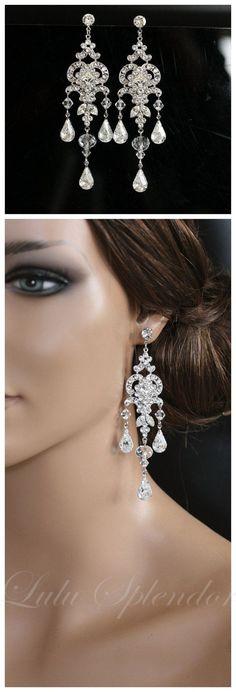 Chandelier Wedding Earrings Swarovski Crystal by LuluSplendor