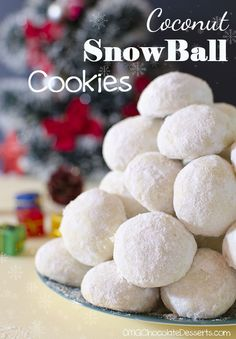Christmas Coconut Snowball Cookies - OMG Chocolate Desserts #desserts #dessertrecipes #yummy #delicious #food #sweet