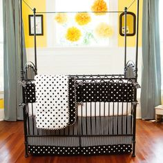 Black and White Dots and Stripes Crib Bedding #carouseldesigns