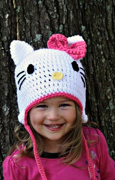 Hello Kitty Crochet Beanie...size 3-6 Months, 6-12 Months, 1-2 Toddler, 2T and up, Adult....Great for a Easy Halloween Costume