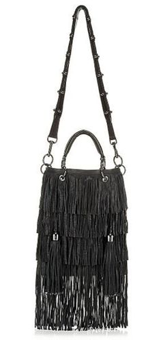 "Thomas Wylde ""Nomad Fringe Bag"" Soft crinkled grained leather, polished gunmetal hardware, rolled handles with two-ring attachments"