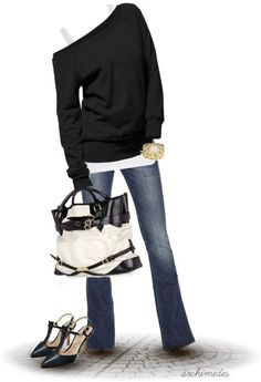 purs, bag, flat, heel, one shoulder, black white, fall outfits, shoe, fashion designers