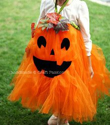 Pumpkin Tutu Costume. This Pumpkin Tutu Costume is a creative and fun costume for your little girl. Use tulle and felt to transform her into a cute jack-o-lantern. It's easy and quick to make so you'll both love this homemade Halloween costume.