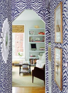 zebra wallpapered hallway #wallpaper #zebraprint