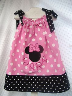 Minnie Mouse Applique Pillowcase Dress by TheTurtleTrain on Etsy, $29.00 amazing of course my baby girl will have one of these cute Disney dresses! Adorable