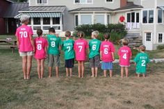 Love this idea -- t-shirts with each grandchild's name and age for grandma's 70th birthday