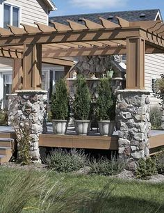 5. Give Your Outdoor Room an Edge. tall plants in very large planters, will give you privacy under your pergola, which always adds atmosphere. Outdoor Rooms, Stone Patios Ideas, Back Porches, Backyard, Deck, Project Ideas, Outdoor Spaces, Patio Ideas, Front Porches