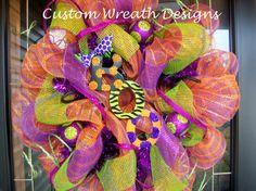 Halloween Boo Polka Dot Mesh Wreath