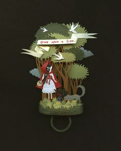 RESERVED Little red riding Hood Original paper ring by elsita