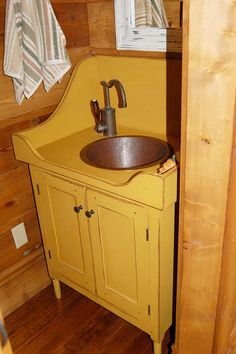 Shaker Washstand with Mustard Paint