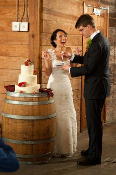 Love the idea of a barrel for a wedding cake stand!
