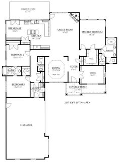 First Floor Plan of Ranch Craftsman   House Plan 50223 - This is the floor plan to the L shaped house that I posted previously.