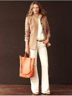 Banana Republic white and tan outfit combo.