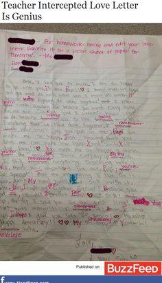 haha smooth teacher move!   Teacher Intercepted Love Letter IsGenius