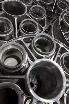 Stack of turbine parts at GE Energy's Turbine Services facility in Abu Dhabi, UAE. #GE #technology