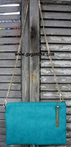 Clutch Purse with Gold Strap in Turquoise www.gugonline.com $29.95