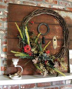 Fall Wreath Mantel Decor Petticoat Junktion Fall Home Decor Tour #falldecor #wreath