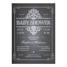 A fun and trendy invitation to a baby shower for the mom-to-be features a chalkboard effect, with lettering that has the popular look of being written in chalk on a black board. With an eclectic mixture of font and style, in white and pale lavender purple, the look is playful and welcoming - just perfect for a baby shower for a little girl. #baby #shower #chalkboard #chalk #vintage #white #baby #girl #baby #girl #rustic #purple #country #blackboard #chalk #board #shower #trendy #popular ...