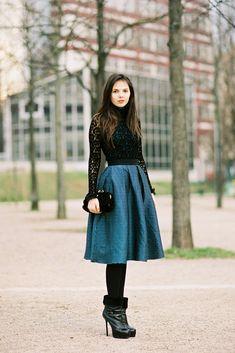 fashion weeks, paris fashion, full skirts, boot, lace tops