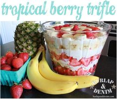 The Best Trifle Recipe Ever  {cream cheese, coconut extract, pineapple, berries, frozen Sara Lee cake
