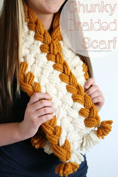 For those who love yarn but not entirely ready to learn to knit or crochet, this braided scarf by Girls Loves Glam is a great project.  She used our Wool-Ease Thick & Quick for her scarf project.