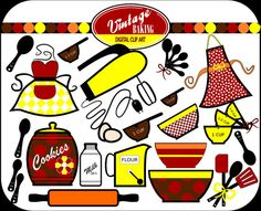 TREASURY ITEM Vintage Baking Digital Clip Art in by DigiBonBons