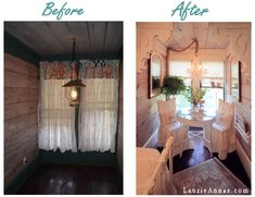 Room makeover at our farmhouse, before and after photo.