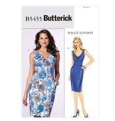 Maggy London for Butterick B5455 Semi fitted sheath dresses Size:AA (6-12) Availability: OOP Condition: Uncut, Factory Folded Swapper: Konnie Kapow Will swap for: patterns, fabric,trims/ notions, buttons, books and more...