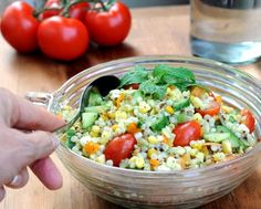 Garden Pasta Salad with Mint Vinaigrette, light on pasta, generous with veggies, gorgeous with fresh mint!