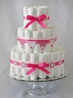 Baby Girl Diaper Cake Pink and White Shower by SweetCakesDB, $45.00