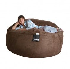 6 ft Dark Brown Chocolate Giant Foam Beanbag Chair Round SLACKER sack Microsuede like Love Sac XL by SLACKER sack, They love it! The size and the color is great. The microsuede cover is durable and soft. The bag plumps right up when you roll it around a bit.