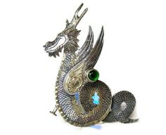 Chinese Dragon Brooch Silver Winged Dragon Pin with by veraviola
