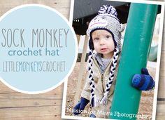 Sock Monkey Crochet Hat  |  Free 6-12m Crochet Sock Monkey Hat Pattern by Little Monkeys Crochet