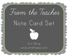 A collection of simple note card freebies. You can use them for correspondence with parents, to do lists, thank you notes, etc.