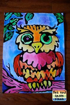 Make your own black glue + watercolor resist art