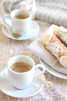 Authentic Italian Coffee cup, cannoli, espresso, food, breakfast, morning coffee, coffee time, mornings, dessert