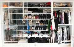 The Coveteur - closets - acrylic, sliding, door, shoe shelves, hat shelves, white, storage, baskets, glass closet door, closet door,  Jennifer