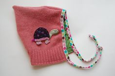Felted sweater pixie hat, recycled wool sweater hat, upcycled wool children's pixie style hat