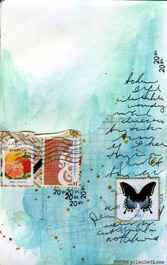 Ronda Palazzari  thoughts -- Thoughts art journalin page uses some stamps found on some envelopes mailed to me recently.  The underlayer is a vintage ledger page with light gesso over it.  I then painted over it an added some mustard maya mist sprinkles.