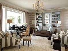 Fab home office. Love the color palette...tan, brown, soft blue and touches of black. #home office