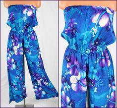Vtg 60s 70s Blue & Purple Floral Pacific Isle of Hawaii Palazzo Pants Jumper http://www.ebay.com/itm/140741572655?ssPageName=STRK%3AMESELX%3AIT&_trksid=p3984.m1555.l2649