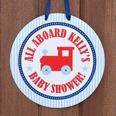 Toy Train Baby Shower Welcome Door Sign